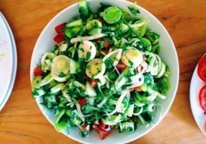 Pre biotic gut friendly leek Salad